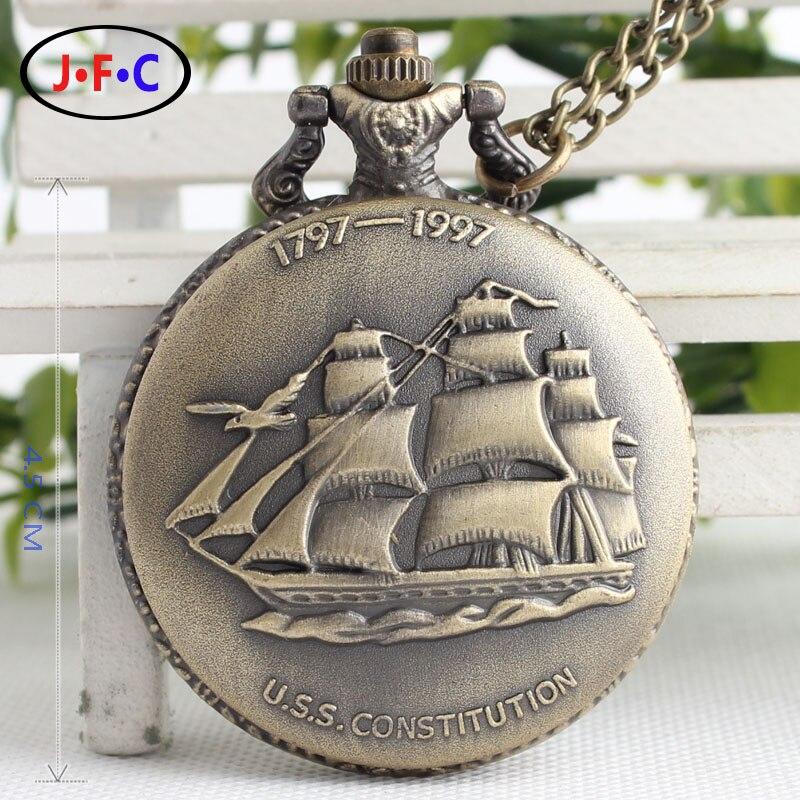 Free shipping Vintage bronze sailing large quartz pocket watch   DS008<br><br>Aliexpress