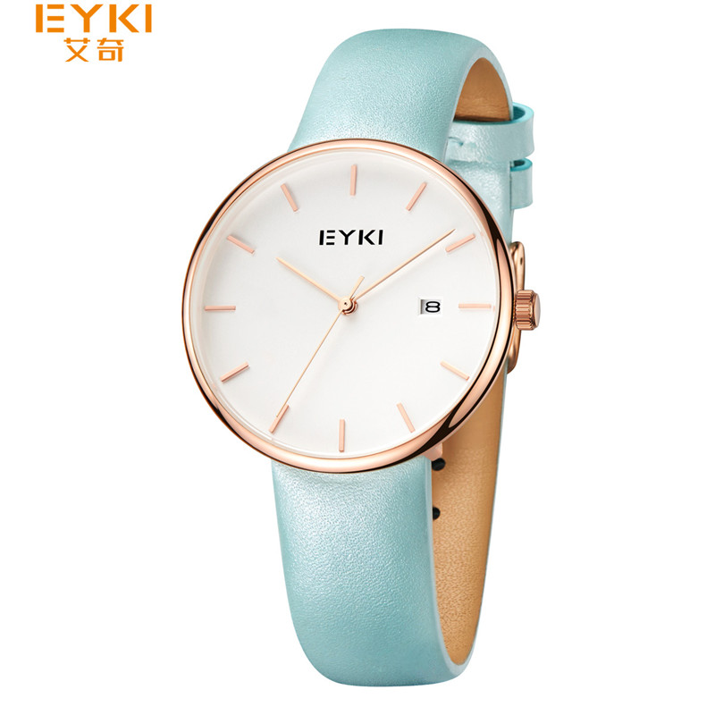 EYKI Women Mens Wristwatch Rose Gold Simple Dial Quartz Watch Man Ladies Fashion Dress Watches relogio feminino Male Clock Blue<br>