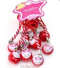 Hot sale 50 Pcs girl favourite fashion lovely Rare Pretty Red Maneki Neko Lucky Cat Bell Phone Charm Strap Gift