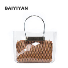 Transparent Tote Bag Women's Handbag Crystal Beach Bags Candy Color Composite Bags Girls Straw Knitting Shoulder Summer Bags(China)