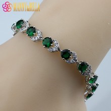 925 Sterling Silver Hight Quality Green Created Emerald Bracelet Health Fashion  Jewelry For Women Free Jewelry Box SL128
