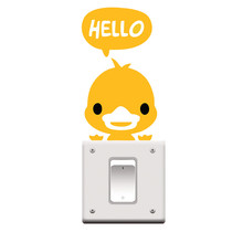 "Lovely Yellow Duck Say ""Hello"" Switch Stickers Outlets Decorations Diy Cartoon Wall Vinyl Home Decals Animals Mural Art"