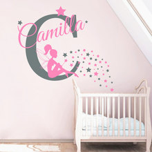 Name Sticker Little Fairy Girls Bedroom Decorative Wall Murals Personalized Named Art Designed Decal DIY Wall Decor Poster W-390(China)