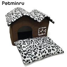 Petminru Leopard Pet Dog House Spot Double Top Cat Kennel Soft Warm Mat Bed Cushion Dog Bed Pet House Mats Sofas(China)