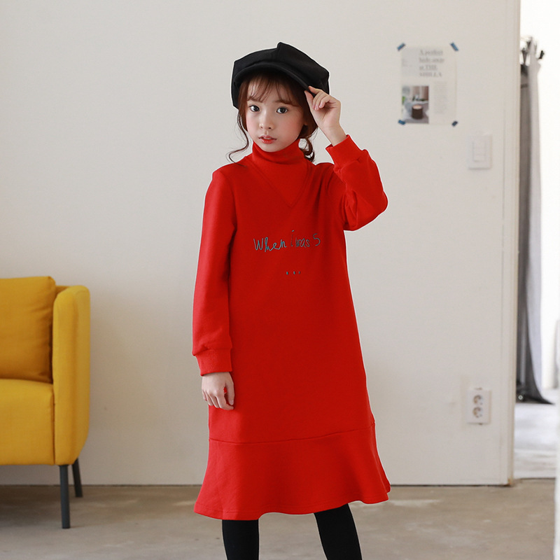 fleece christmas dress kids warm winter autumn ruffles long sleeve green red children dresses girls new 2017 big girl clothing<br>