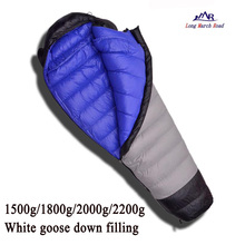 LMR ultralight comfortable goose down filling 1500g/1800g/2000g/2200g down can be spliced camping sleeping bag(China)