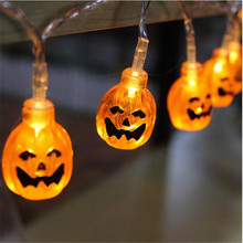 1.5M  LED String Light Halloween Decor 10 Heads Pumpkin Skull Light Strip Waterproof Outdoor Lanterns with Plug or Battery Case