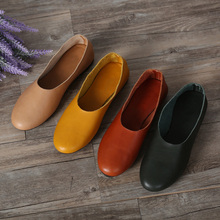 (35-42)Woman Shoes Flat Genuine Leather Slip on Ballet Flats Anti-slip Ladies Flat Shoes Female Footwear large size(1605)(China)
