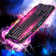 English Version Red/Purpl /Blue Backlight LED Pro Gaming Keyboard M200 USB Wired Powered Full N-Key for LOL Computer Peripherals