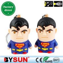 Superman Action figure toy LED Light+Sword sound Adorable Avengers garage kit Keyring Pretty Bag pendant Giveaway Torch Keychain