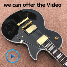 Guitar recording video appreciation custom mahogany black lpcustom electric guitar gold hardware free shipping(China)