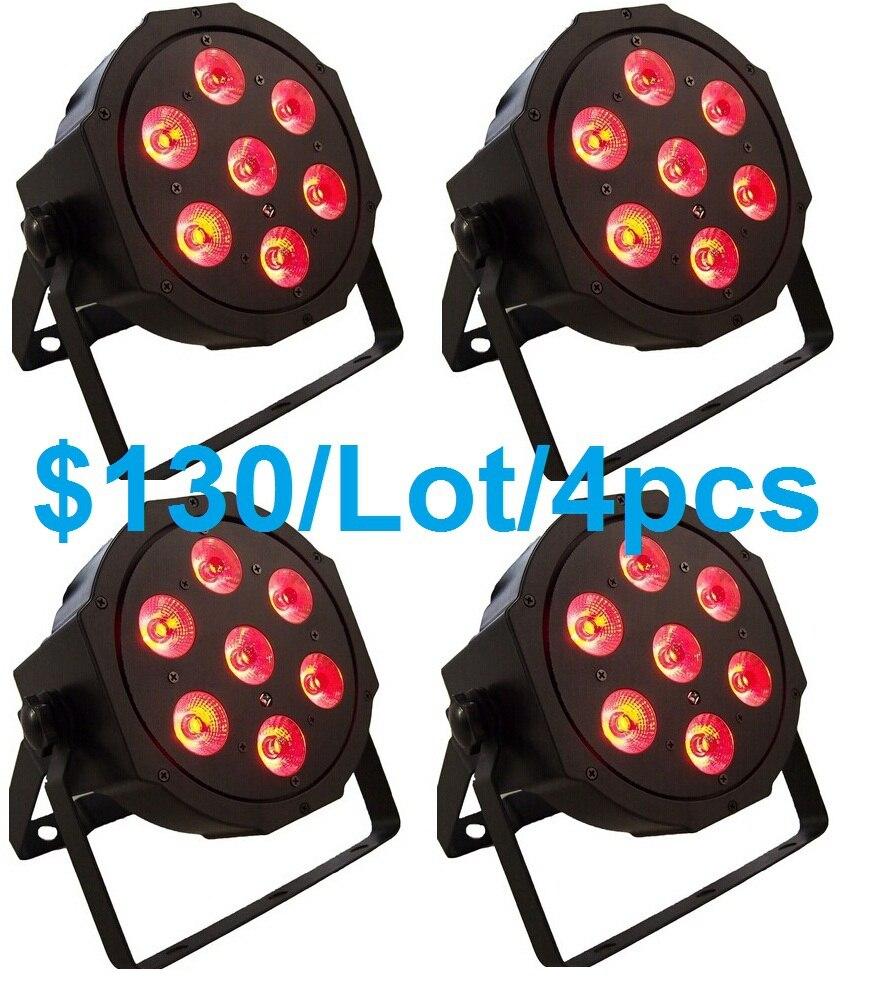 4x Led Par Can 7X10W 4in1 RGBW Led Slim Par Light Strobe Laser DMX DJ Disco Professional Stage Light Equipment Laser Projector<br>