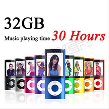 20pcs/lot Slim 1.8' 4th 32GB Mp4 Player 30Hours Music Playing Time 9Colors FM Radio Video Player(China)