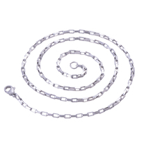 2.0mm(Width) Tiny Stainless Steel Box Chain Necklace for Glass Floating Memory Charm Locket Pendant  Rolo Chain Necklace