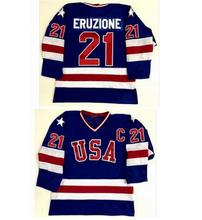 SexeMara Blue Ice Hockey Jersey Vintage 1980 Miracle On Ice Team USA Mike Eruzione 21 Hockey Jersey Sport Wear Wholesale Free