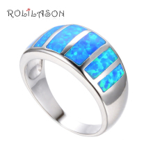 Amazing Wholesale & Retail Party gifts Blue fire Opal Silver stamped Rings fashion Opal jewelry USA sz  6.5# 7.75# OR513