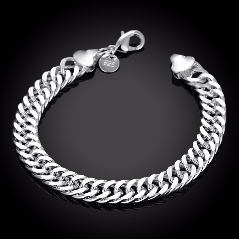 10MM 925 pure silver plated cm hand link chain Bracelets & Bangles For Women Men New Fashion silver Jewelry Wholesale 3