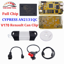 V170 Renault Can Clip Full Chip CYPRESS AN2131QC+Reprog V151 OBDII Auto Diagnostic Interface CAN Clip For Renault Code Scanner