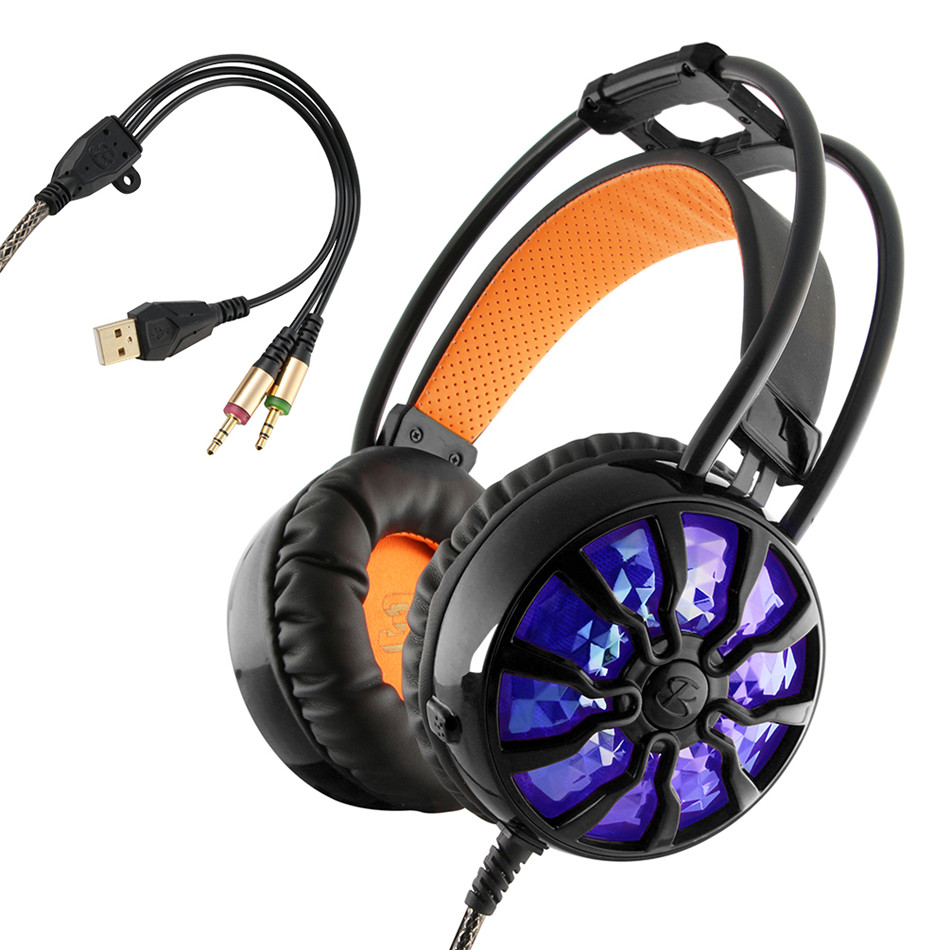 High Quality Gaming Headphones 7.1 Surround Vibration Wired Headphones with Microphone for Computer PC Gamer Luminous Headphones<br>
