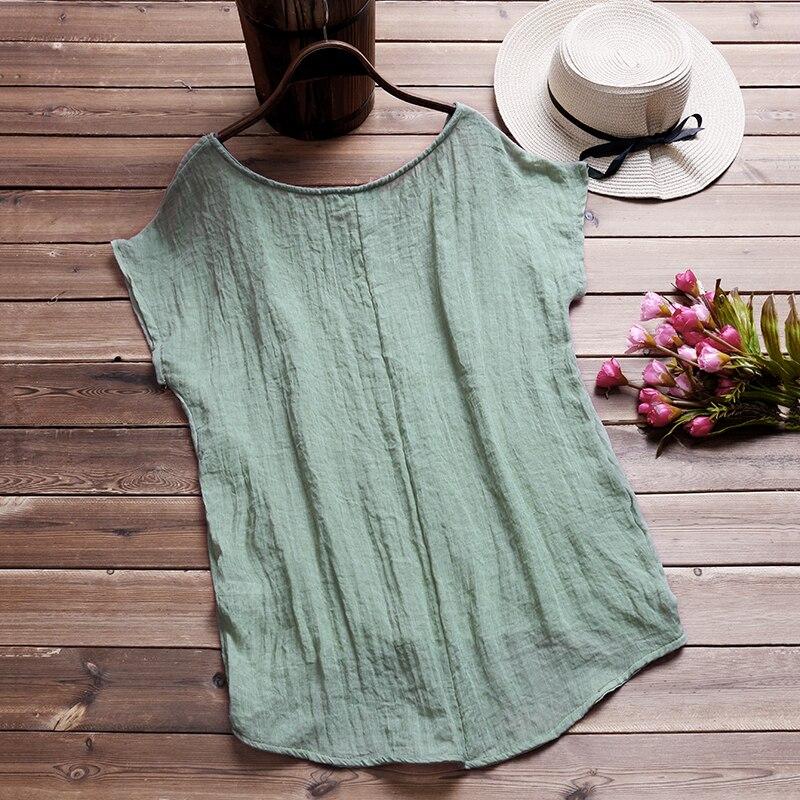 ZANZEA-Vintage-Cotton-Linen-Baggy-T-Shirt-2018-Summer-Fashion-Women-Blusa-Casual-Crew-Neck-Short3
