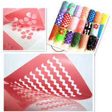 10Pcs Different Design Stamping Tool Nail Art Hollow Laser Silver Template Stencil Stickers Vinyls Image Guide Polish JT126(China)