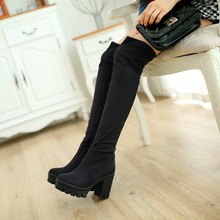 Women Faux Suede Over the Knee Boots Sexy Fashion Thick High Heels Boots Shoes Black Brown