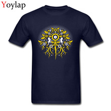 Bionic Cliche Men Lion Tree Printed On Tops Shirts Popular Design Summer/Autumn Crew Neck Cotton T-shirt(China)