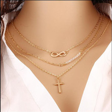Europe And America Fashion Style Big Brand Multilayer Metal Gold Retro Cross Choker Necklace Short Chain Necklaces For Women(China)
