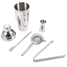 5pcs Cocktail Shaker Set 750ml Professional Stainless Steel Cocktail Maker Jigger Ice Strainer Clip Spoon Bar Tools Household