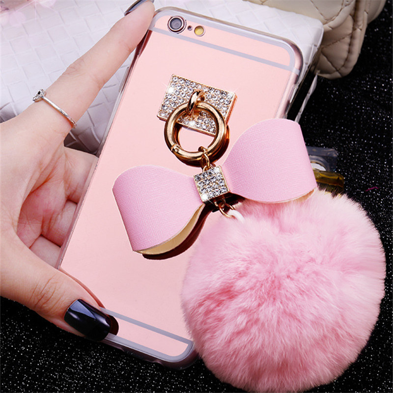 Ayeena Mirror Case For Huawei P8 Lite P9 Lite P9 Plus Lite Soft Fuzzy Real Rabbit Hair pompom Fluffy Mirror Phone cases Diamond()