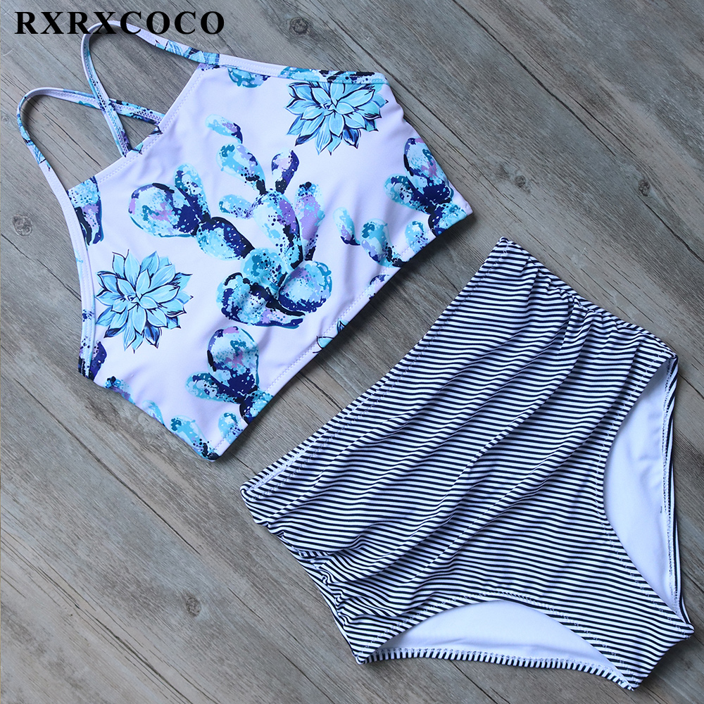 RXRXCOCO High Waist Swimsuit Women Striped Printed Swimwear Padded High Neck Bikini Halter Bandage Bikini Set Sexy Swimming Suit