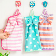 Cute Bowknot Style Hanging Hand Towel Coral Velvet Super Water Absorption Kitchen Bathroom Cleaning Cloth Random Color