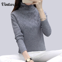 Vintarfell Sweaters And Pullovers For Women 2017 Autumn Winter Solid Turtleneck Knitwear Female Casual Elastic Loose Coat Femme(China)