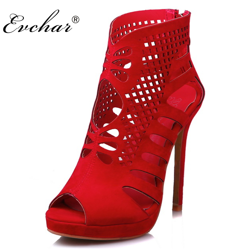 Red And Black Gladiator 11.5cm super High Heels Fish Mouth Womens Shoes Sexy Party wedding thin heels Rome pumps size 30-48<br>