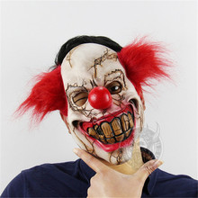 Horror Mask Of Clown Latex Red Hair Nose Cosplay Full Face Scary Masque Halloween Adult Ghost Party Mask For Halloween Props(China)