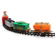 High Quality Plastic Lifelike Classic Electric Track Train with Sound and Smoke Children Toy Christmas Gift for Kids Collection(China)