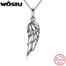 2017 Brand New 925 Sterling Silver Angel Wing Feather Pendant Necklaces for Women Girls Jewelry Gift For Friends CQN026(China)