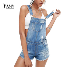 Fashion Womens Jumpsuit Denim Overalls Summer sexy Strap Hole Ripped Rompers Casual Playsuit Short Jeans Coverall 2017