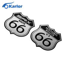 70*70mm Car stickers America US the ROUTE 66 Road 3D Modification Metal Logo to Car body Computer Ipad Wall Cabinet Moto Sticker