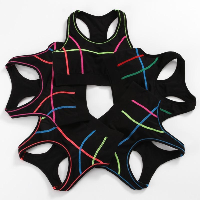 Stitching Color Women Sports Bra fitness Yoga bra Padded Shockproof Running Gym Brassiere Sport Bra Top soutien gorge sport 2