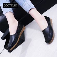 COOTELILI35-40 Plus Size Spring Solid Casual Flat Girls Shoes Slip-On Round Toe Low-Heel Loafers Soft Leather Retro Women Shoes