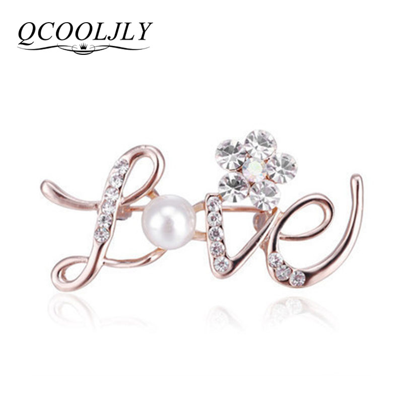 Fashion Women Large Brooches Lady love letter Imitation Pearls Rhinestones  Crystal Wedding Brooch Pin Jewelry Accessorise 937a1105a5a8