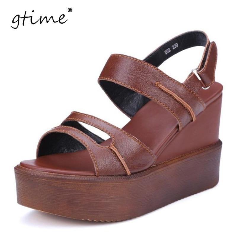 GTIME Women Genuine Leather High heel Platform Sandals Ladies Wedges Sandals 2017 Summer Shoes # ZWB96<br>