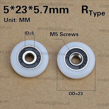 [R0523-5.7]Free Shipping 10PCS bath cabinet roller wheel shower room accessories bearing roller wheel 5*23*5.7