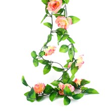 Fake Silk Roses Ivy Vine Artificial Flowers with Green Leaves For Home Wedding Decoration Hanging Garland Decor(China)