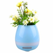 Touch Music Playing Plant Flower Pot Bluetooth LED Night Light Lamp White(China)