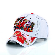 1Piece Free shipping KING denim baseball cap  washed hat for lady & women  Floral cap