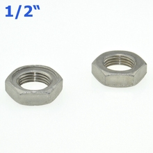 "5Pcs 1/2"" / DN15 Thread Hexagon Nuts Metal Lock Nut 19mm Inner Dia. O-Ring Groove SS Pipe Fittings 304SS Stainless Steel"
