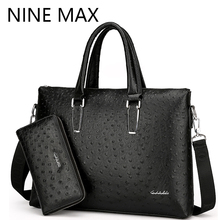 Ostrich Grain Cross Section Fashion Men Handbag Business Single Shouler Bag New Arrive Luxury Briefcase With Clutch Case Pack