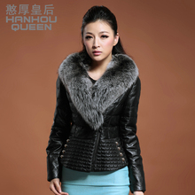 Fashion NEW Ladies' Genuine leather Garment,Elegant slim Fox fur sheepskin jacket,Real leather down coat Free shipping FQ1598(China)